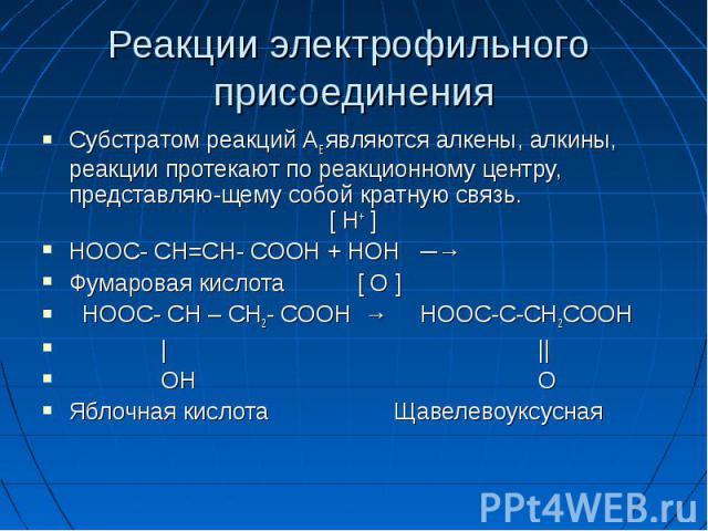 Реакции электрофильного присоединения Субстратом реакций AE являются алкены, алкины, реакции протекают по реакционному центру, представляю-щему собой кратную связь. [ Н+ ] НООС- СН=СН- СООН + НОН ─→ Фумаровая кислота [ О ] НООС- СН – СН2- СООН → НОО…
