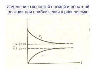 Изменение скоростей прямой и обратной реакции при приближении к равновесию