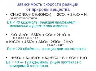 Зависимость скорости реакции от природы вещества CH2(ONO2)- CH2(ONO2) = 2CO2 + 2