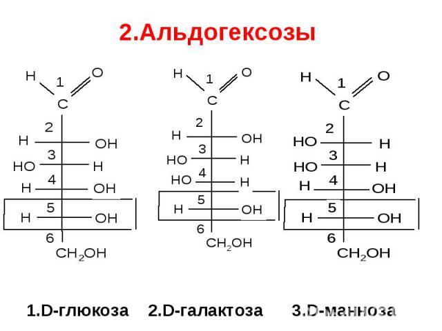 1.D-глюкоза 2.D-галактоза 3.D-манноза