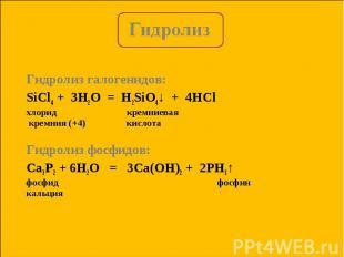 Гидролиз галогенидов: Гидролиз галогенидов: SiCl4 + 3H2O = H2SiO4↓ + 4HСl хлорид