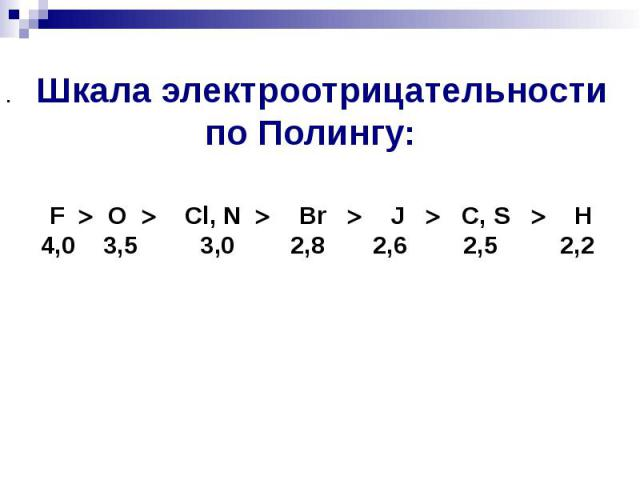Шкала электроотрицательности по Полингу: