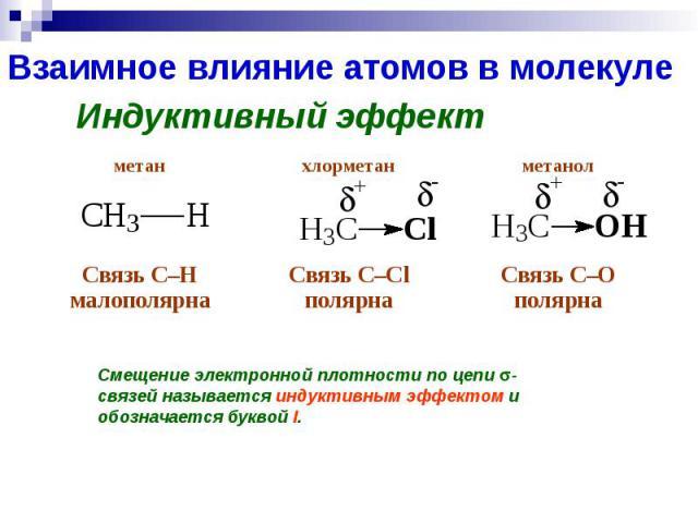 Взаимное влияние атомов в молекуле Индуктивный эффект