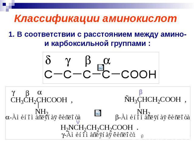 Классификации аминокислот 1. В соответствии с расстоянием между амино- и карбоксильной группами :
