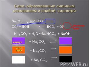 Na2 CO3 Na+ + CO32- Na2 CO3 Na+ + CO32- CO32- + HOH HCO3- + OH-