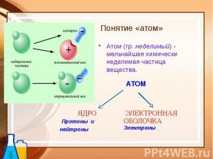 Понятие «атом» Атом (гр. неделимый) - мельчайшая химически неделимая частица вещ