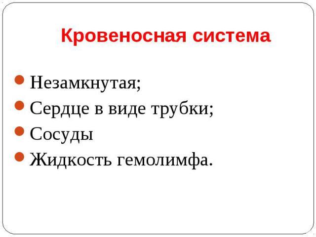 Незамкнутая; Незамкнутая; Сердце в виде трубки; Сосуды Жидкость гемолимфа.