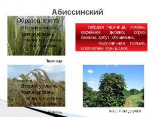 Абиссинский Твёрдая пшеница, ячмень, кофейное дерево, сорго, бананы, арбуз, клещ