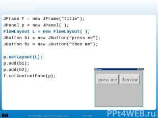 "FlowLayout JFrame f = new JFrame(""title""); JPanel p = new JPanel( ); FlowLayout"