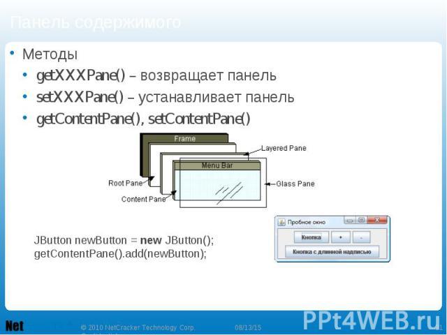 Панель содержимого Методы getXXXPane() – возвращает панель setXXXPane() – устанавливает панель getContentPane(), setContentPane()