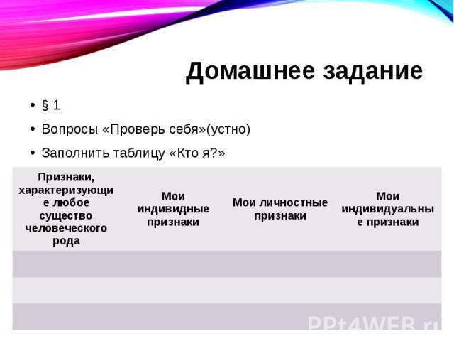 Домашнее задание § 1 Вопросы «Проверь себя»(устно) Заполнить таблицу «Кто я?»