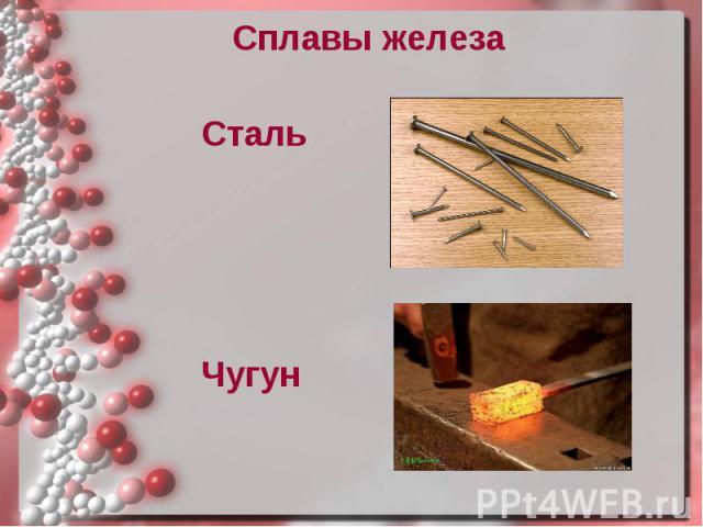 Сплавы железа Сплавы железа Сталь Чугун