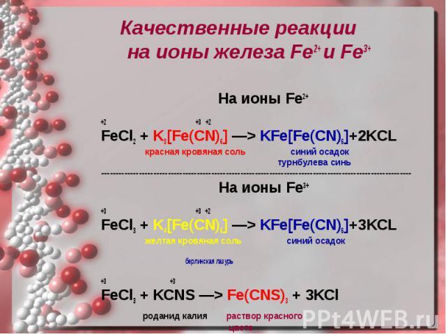 Качественные реакции на ионы железа Fe2+ и Fe3+ Качественные реакции на ионы железа Fe2+ и Fe3+