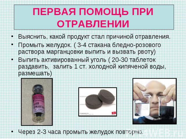 Выяснить, какой продукт стал причиной отравления. Выяснить, какой продукт стал причиной отравления. Промыть желудок. ( 3-4 стакана бледно-розового раствора марганцовки выпить и вызвать рвоту) Выпить активированный уголь ( 20-30 таблеток раздавить, з…