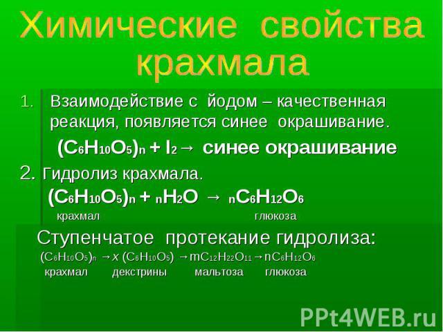 почему меняется окраска гидролизата с йодом может