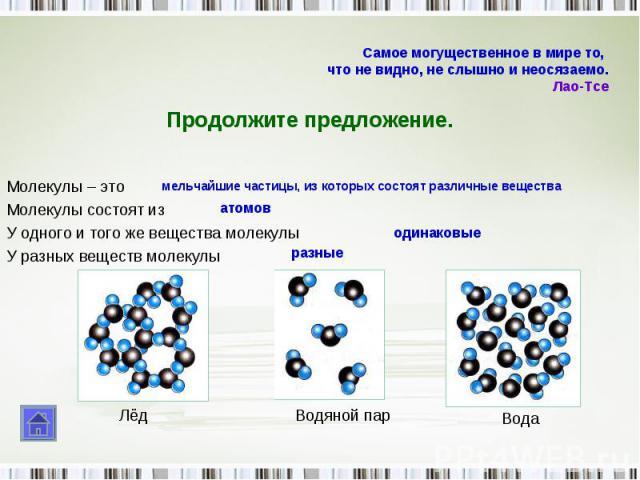 Молекулы – это Молекулы состоят из У одного и того же вещества молекулы У разных веществ молекулы