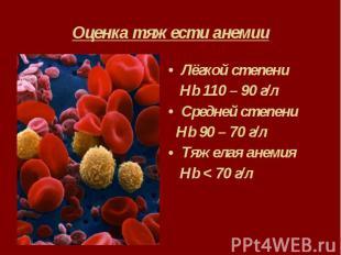 Оценка тяжести анемии Лёгкой степени Hb 110 – 90 г/л Средней степени Hb 90 – 70