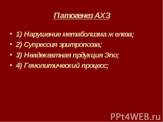 Патогенез АХЗ 1) Нарушение метаболизма железа; 2) Супрессия эритропоэза; 3) Неадекватная прдукция Эпо; 4) Гемолитический процесс;