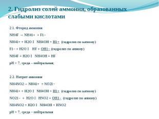 2. Гидролиз солей аммония, образованных слабыми кислотами 2.1. Фторид аммония NH