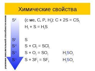 Химические свойства S-2 (с ме, C, P, H2): C + 2S = CS2 H2 + S = H2S S0 S S+2 S +
