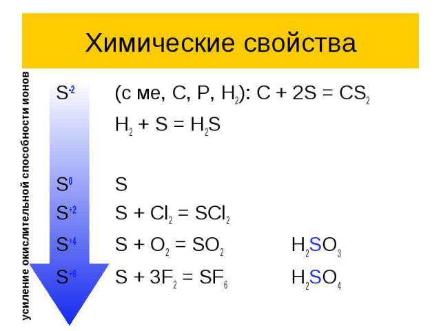 Химические свойства S-2 (с ме, C, P, H2): C + 2S = CS2 H2 + S = H2S S0 S S+2 S + Cl2 = SCl2 S+4 S + O2 = SO2 H2SO3 S+6 S + 3F2 = SF6 H2SO4