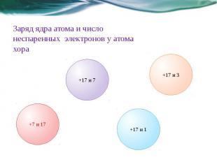 Заряд ядра атома и число неспаренных электронов у атома хора
