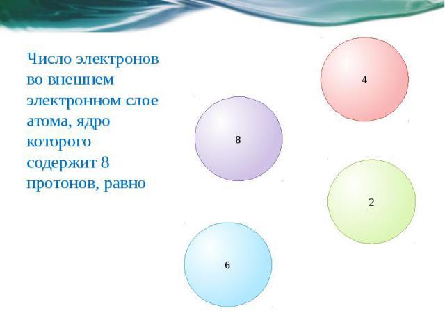 Число электронов во внешнем электронном слое атома, ядро которого содержит 8 протонов, равно
