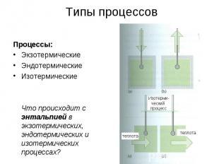 Типы процессов Процессы: Экзотермические Эндотермические Изотермические Что прои