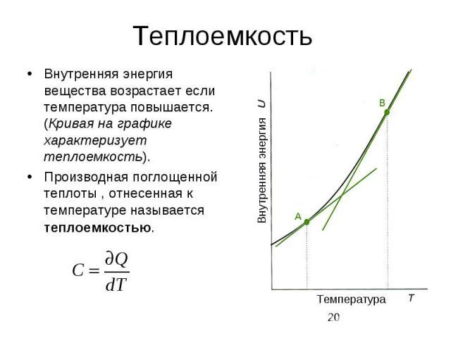 Теплоемкость Внутренняя энергия вещества возрастает если температура повышается. (Кривая на графике характеризует теплоемкость). Производная поглощенной теплоты , отнесенная к температуре называется теплоемкостью.