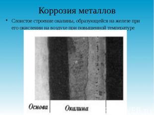 Коррозия металлов Слоистое строение окалины, образующейся на железе при его окис