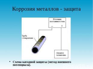 Коррозия металлов - защита Схема катодной защиты (метод внешнего потенциала).
