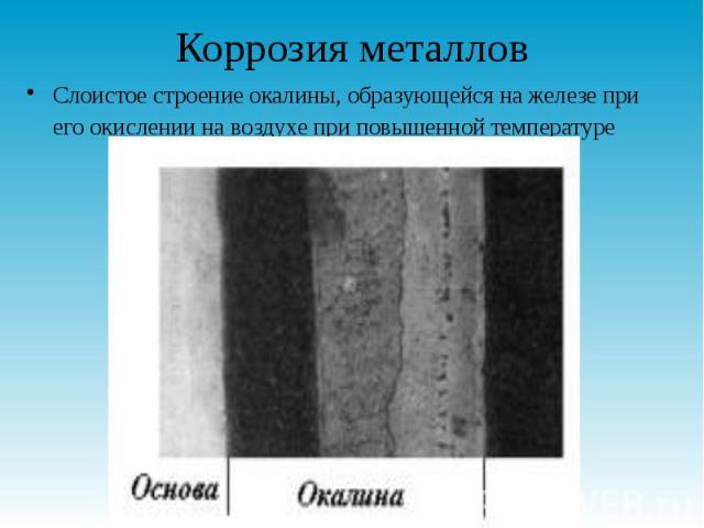 Коррозия металлов Слоистое строение окалины, образующейся на железе при его окислении на воздухе при повышенной температуре