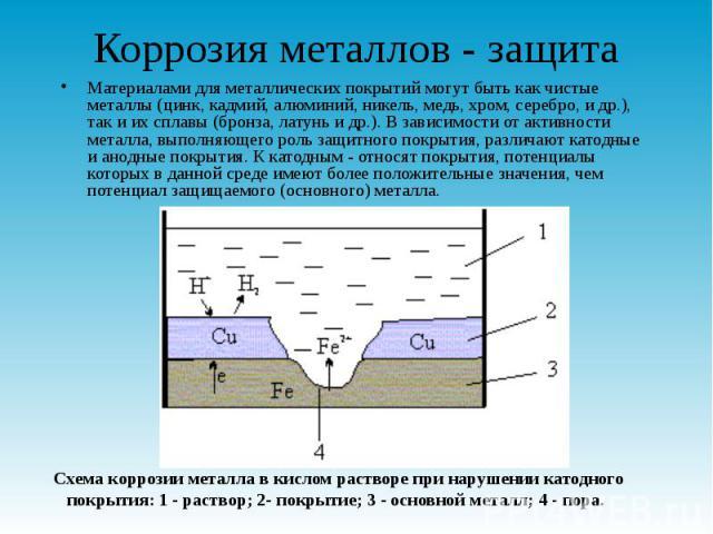 Коррозия металлов - защита Материалами для металлических покрытий могут быть как чистые металлы (цинк, кадмий, алюминий, никель, медь, хром, серебро, и др.), так и их сплавы (бронза, латунь и др.). В зависимости от активности металла, выполняющего р…