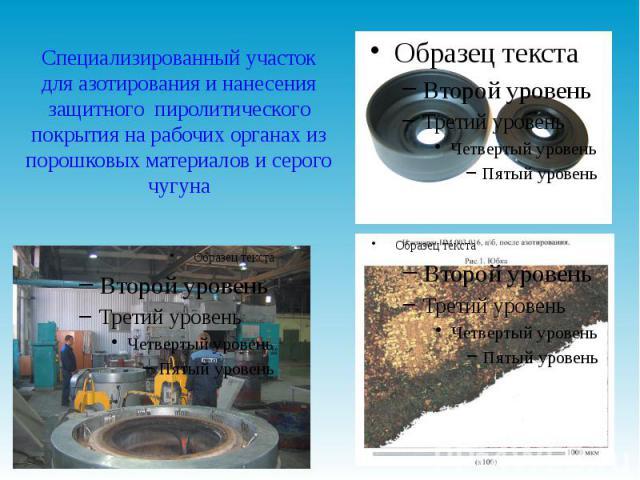 Специализированный участок для азотирования и нанесения защитного пиролитического покрытия на рабочих органах из порошковых материалов и серого чугуна