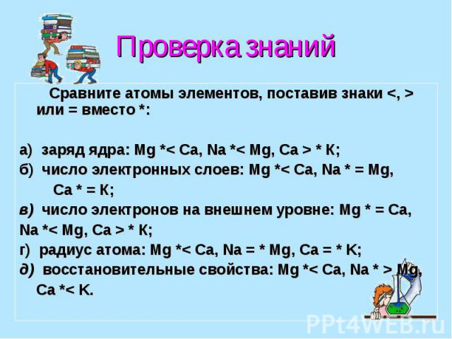 Проверка знаний Сравните атомы элементов, поставив знаки <, > или = вместо *: а) заряд ядра: Mg *< Ca, Na *< Mg, Ca > * К; б) число электронных слоев: Mg *< Ca, Na * = Mg, Ca * = К; в) число электронов на внешнем уровне: Mg * = Ca,…