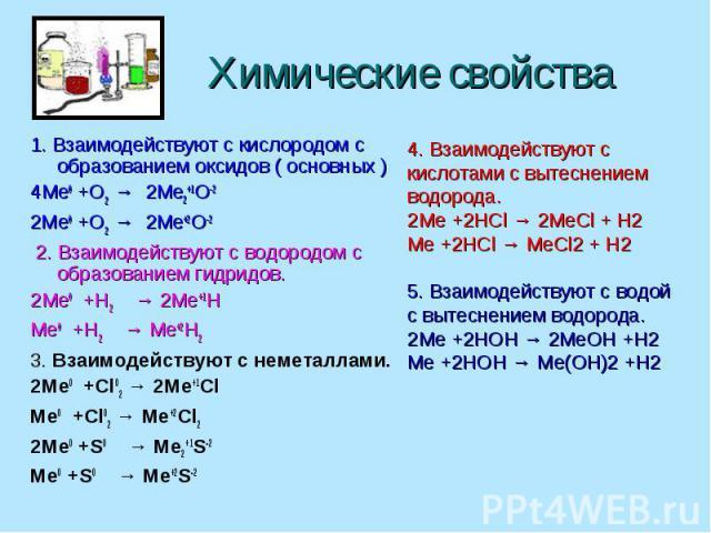 Химические свойства 1. Взаимодействуют с кислородом с образованием оксидов ( основных ) 4Me0 +O2 → 2Me2+1O-2 2Me0 +O2 → 2Me+2O-2 2. Взаимодействуют с водородом с образованием гидридов. 2Me0 +H2 → 2Me+1H Me0 +H2 → Me+2H2 3. Взаимодействуют с неметалл…