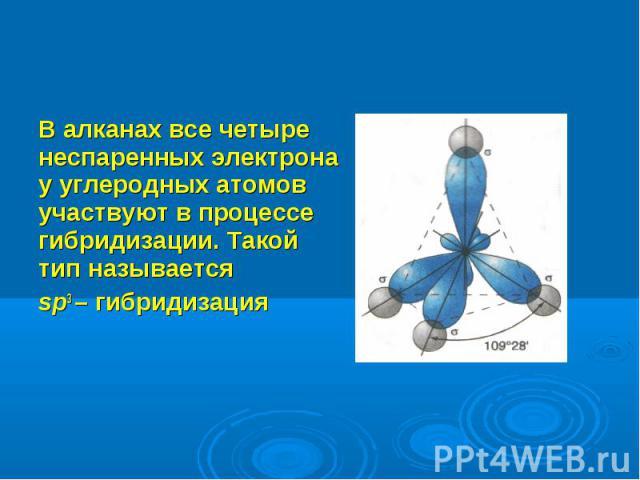 В алканах все четыре неспаренных электрона у углеродных атомов участвуют в процессе гибридизации. Такой тип называется В алканах все четыре неспаренных электрона у углеродных атомов участвуют в процессе гибридизации. Такой тип называется sp3 – гибри…