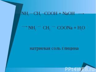 NH2 CH2 COOH + NaOH NH2 CH2 COOH + NaOH NH2 CH2 COONa + H2O натриевая соль глици