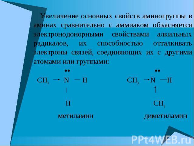 Увеличение основных свойств аминогруппы в аминах сравнительно с аммиаком объясняется электронодонорными свойствами алкильных радикалов, их способностью отталкивать электроны связей, соединяющих их с другими атомами или группами: Увеличение основных …