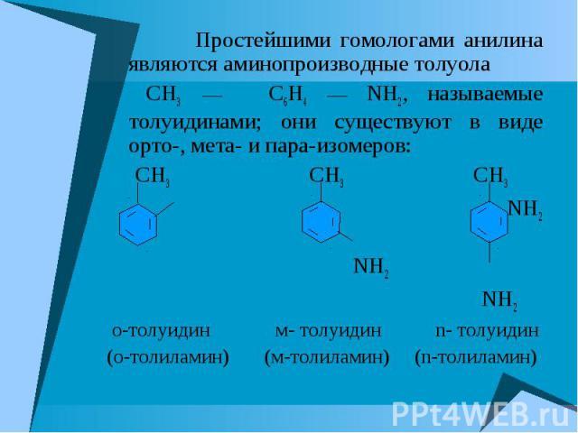 Простейшими гомологами анилина являются аминопроизводные толуола Простейшими гомологами анилина являются аминопроизводные толуола CH3 C6H4 NH2, называемые толуидинами; они существуют в виде орто-, мета- и пара-изомеров: CH3 CH3 CH3 NH2 NH2 NH2 о-тол…