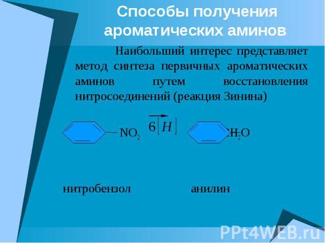 Способы получения ароматических аминов Наибольший интерес представляет метод синтеза первичных ароматических аминов путем восстановления нитросоединений (реакция Зинина) NO2 NH2 + 2H2O нитробензол анилин