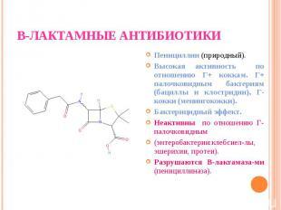 Пенициллин (природный). Пенициллин (природный). Высокая активность по отношению