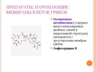 Полиеновые антибиотики ( содержат много ненасыщенных двойных связей в макролидно
