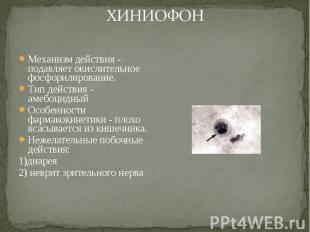 Механизм действия - подавляет окислительное фосфорилирование. Механизм действия