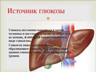 Глюкоза постоянно находится в крови человека и поступает в кровь из пищи или из
