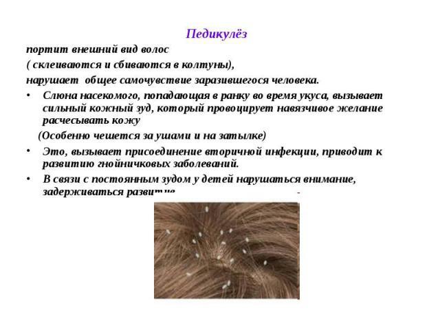Педикулёз портит внешний вид волос ( склеиваются и сбиваются в колтуны), нарушает общее самочувствие заразившегося человека. Слюна насекомого, попадающая в ранку во время укуса, вызывает сильный кожный зуд, который провоцирует навязчивое желание рас…
