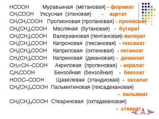 HCOOH Муравьиная (метановая) - формиат HCOOH Муравьиная (метановая) - формиат CH