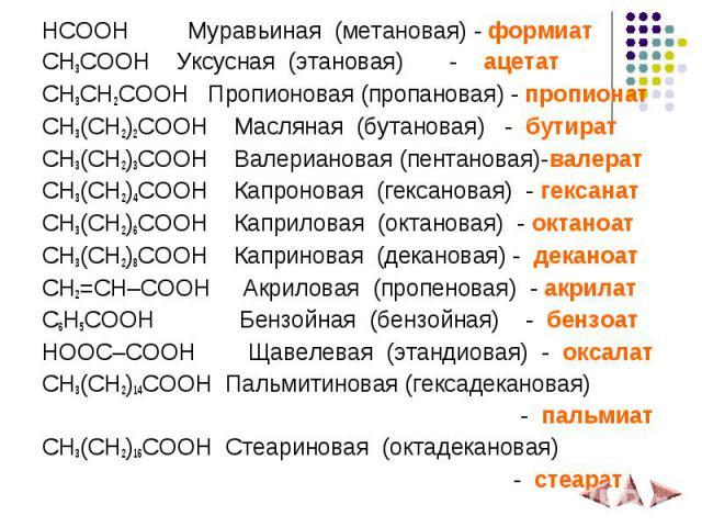 HCOOH Муравьиная (метановая) - формиат HCOOH Муравьиная (метановая) - формиат CH3COOH Уксусная (этановая) - ацетат CH3CH2COOH Пропионовая (пропановая) - пропионат CH3(CH2)2COOH Масляная (бутановая) - бутират CH3(CH2)3COOH Валериановая (пентановая)-в…