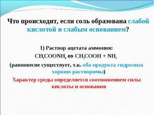1) Раствор ацетата аммония: 1) Раствор ацетата аммония: CH3COONH4 CH3COOH + NH3