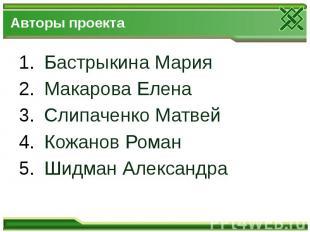 Авторы проекта Бастрыкина Мария Макарова Елена Слипаченко Матвей Кожанов Роман Ш